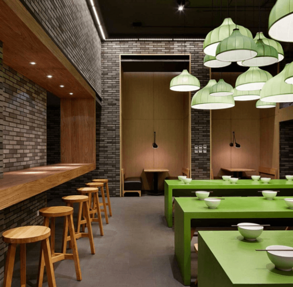 conceptandcolorways-restaurant-interior-with-lime-green-tables-pantone-greenery